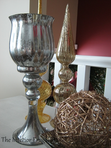 DIY Faux Mercury Glass In Holiday Vignette