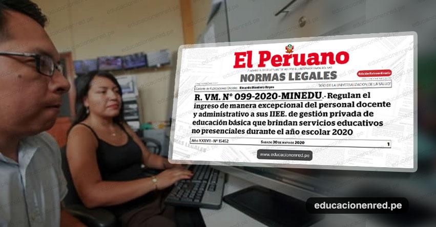 MINEDU regula el ingreso excepcional de personal docente y administrativo a las IE privadas