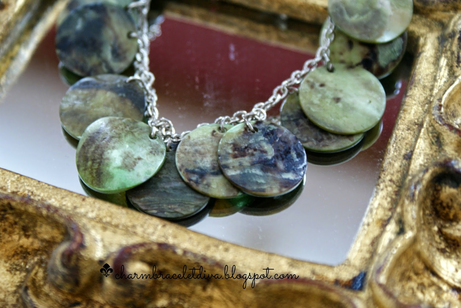 green mother of pearl shell necklace