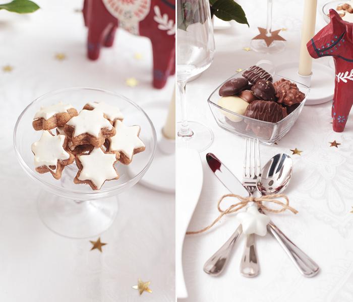 Tischdekoration Weihnachten Skandinavisch rot weiß Schokolade Hussel