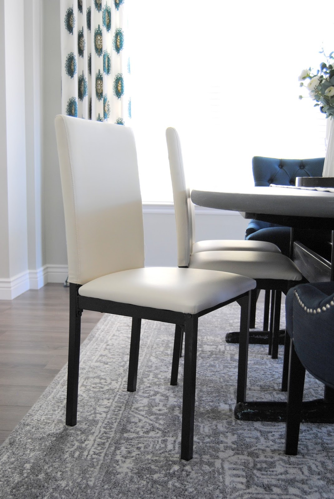 dining room, mix and match dining chairs, white decor, teal decor, aloof