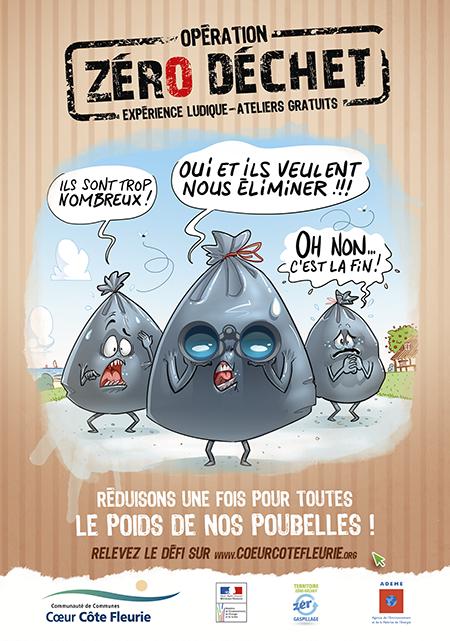 Illustration humoristique pour une opération zéro déchet - affiche flyer communication