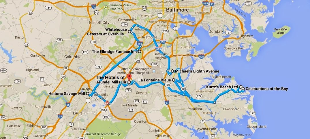Map Of Anne Arundel County Wedding Venues