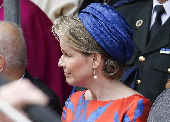 Queen Mathilde, King Philippe and Crown Princess Elisabeth atCoronation Celebrations (Kroningsfeesten) in Tongeren. Wore Natan Dress
