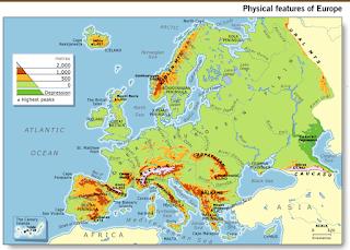 Resultado de imagen de EUROPE PHYSICAL MAP