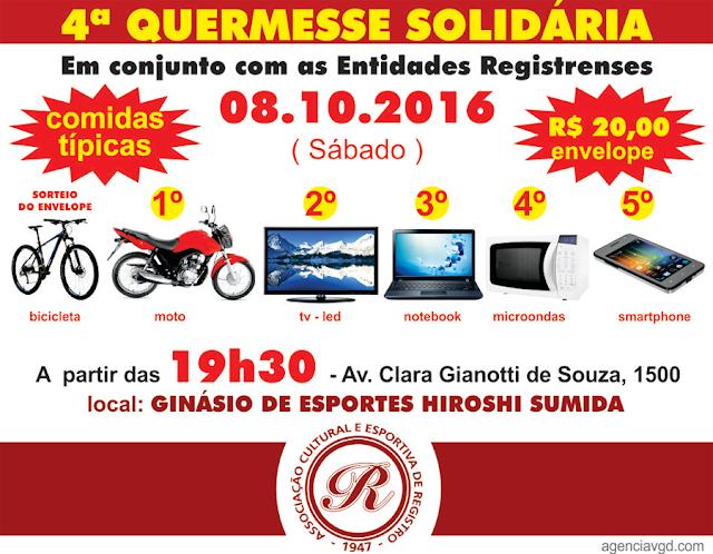 4ª Quermesse Solidária acontece sábado, 08-10-2016 na ACER em Registro/SP