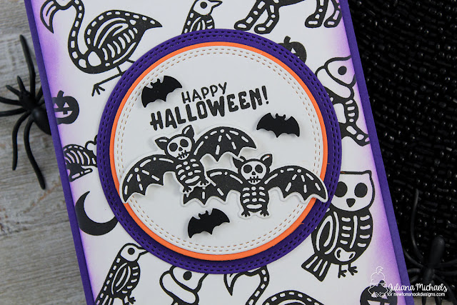 Detail image of Happy Halloween Card by Juliana Michaels featuring Newton's Nook Designs Spooky Skeletons Stamp Set