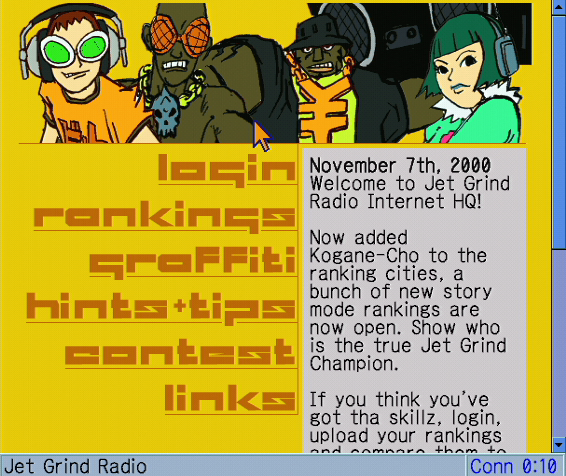 The Dreamcast Junkyard You Can Now Access The Original Jet Grind Radio Website From Your Dreamcast