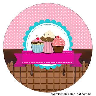 Toppers o Etiquetas de Chicas Haciendo Cupcakes para imprimir gratis.