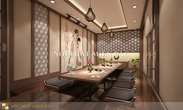 Căn phòng ăn Vip của thiết kế nhà hàng Nhật sang trọng này có diện tích khá rộng rãi và thoải mái