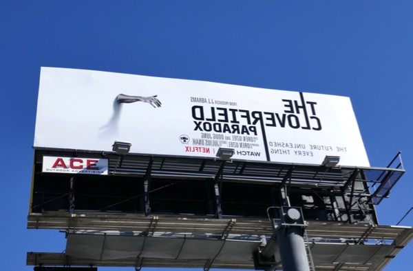 Cloverfield Paradox hand reversed billboard