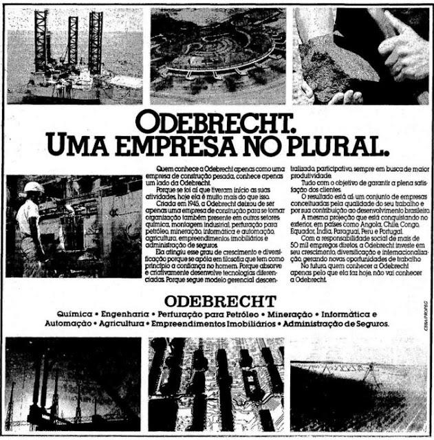 Campanha institucional da Odebrecht veiculada no final dos anos 80.