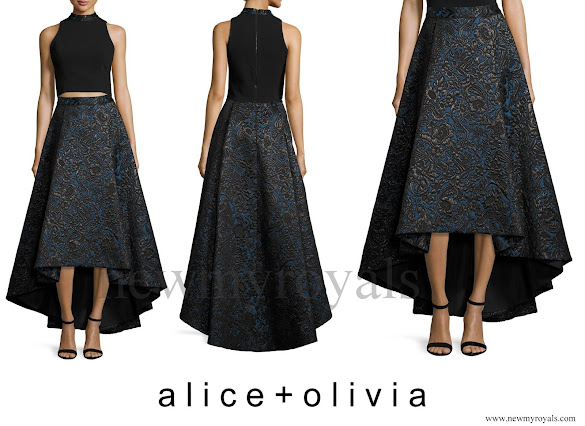 Crown Princess Victoria wore Alice + Olivia Floral Jacquard High-Low Skirt