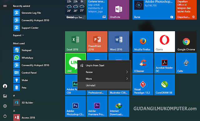 Cara Uninstall Aplikasi di Windows 10