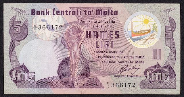 Malta Banknotes 5 Maltese Lira banknote 1979 Statue of Culture
