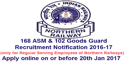 Northern Railways GDCE Recruitment Notification 2016-17