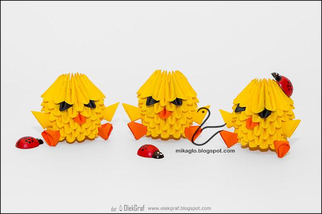 392. Kurczaczki do koszyczka / 3d origami baby chickens