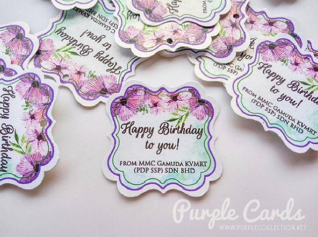 thank you tag printing kuala lumpur, gift tag, personalized, personalised, bespoke, watercolour flower, purple, green, happy birthday, mini, flourish, square, round, rectangle, malaysia, digital print, modern, pretty, online order, express, service, pearl card, punch, small hole