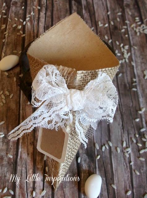 DIY Coni Portariso per Matrimonio in stile Rustico Romantico - fiocco - MLI