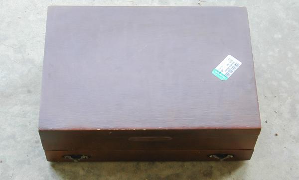 wood silverware box before