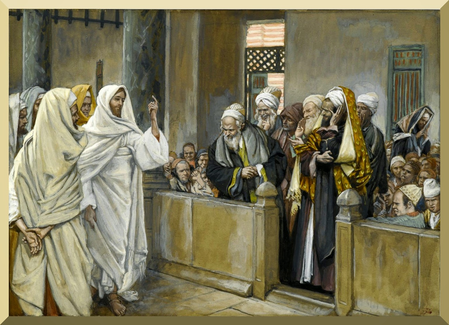 """The Chief Priests Ask Jesus by What Right Does He Act in This Way "" -- by James Tissot"
