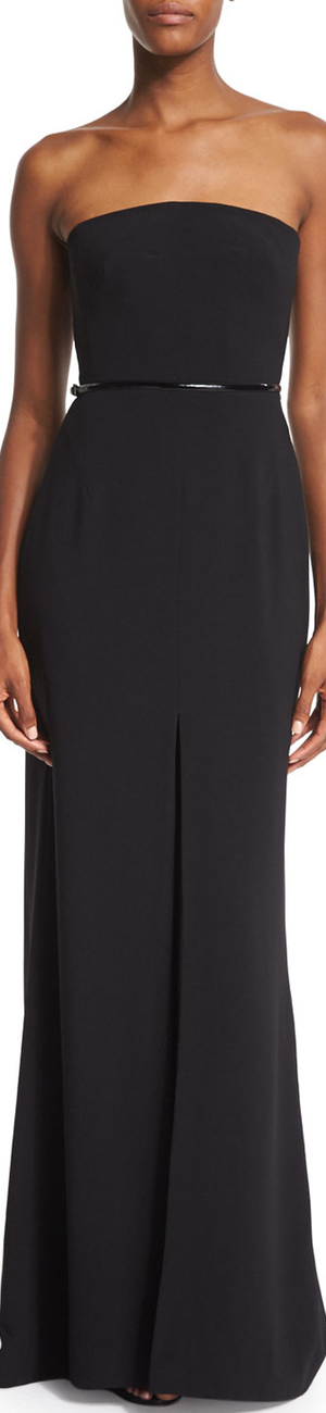 Halston Heritage Strapless Belted Column Gown, Black