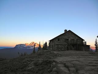 Sunset falls over Granite Park Chalet, Glacier National Park.