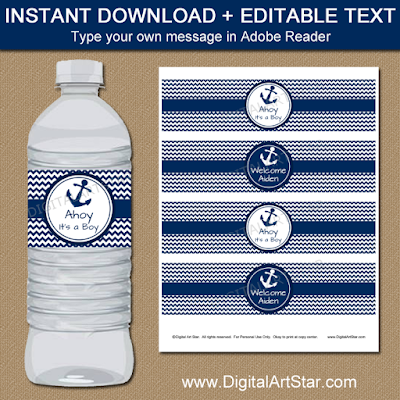 nautical baby shower water bottle labels printable with navy and white chevron