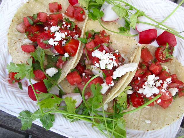 Grilled Halibut Tacos with Watermelon Salsa (from Heather Christo )