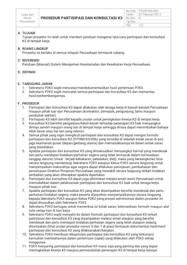 Prosedur Partisipasi dan Konsultasi K3