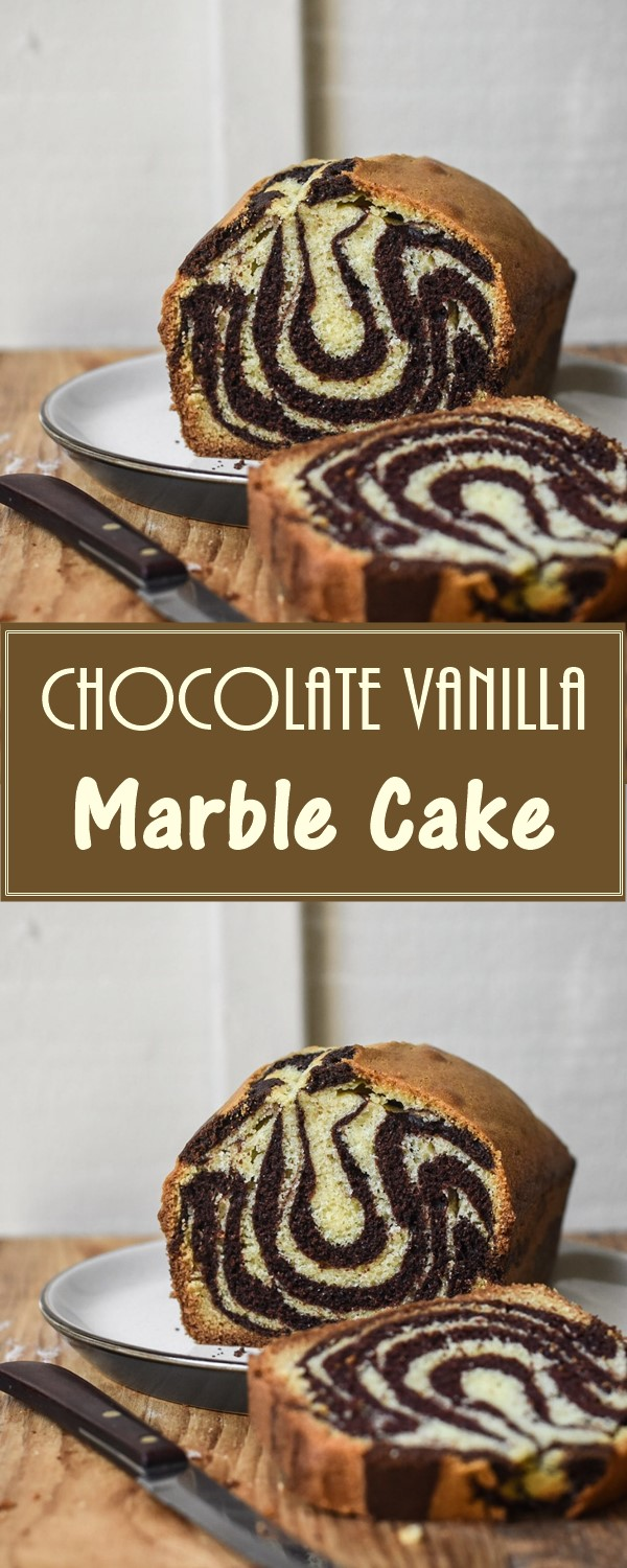 Chocolate Vanilla Marble Cake #cakerecipes