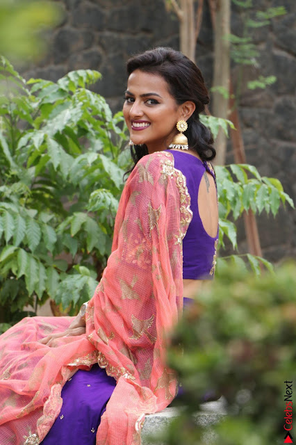 Actress Shraddha Srinath in Purple Chania Choli Cute Pics ~  Exclusive 01.jpg