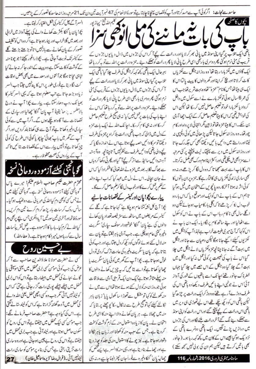 Page 27 Ubqari Magazine February 2016
