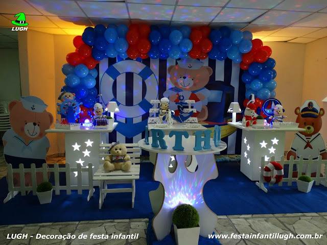 Decoração de mesa temática decorada com Ursinho Marinheiro - Aniversário infantil - Provençal simples