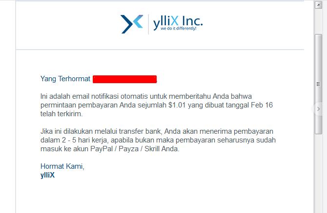 YLLIX Terbukti Membayar. Ini Gaji Pertama Saya Dari YLLIX