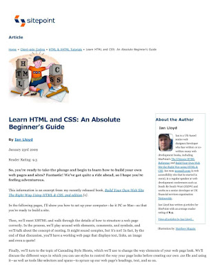 Learn HTML and CSS An Absolute Beginners Guide