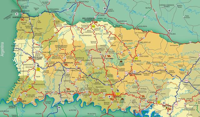 Mapa rodoviário do Oeste de Santa Catarina