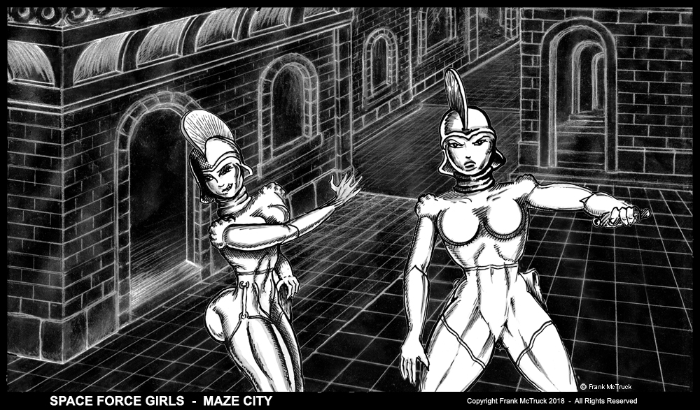 "Frank McTruck pencil & ink wash cartoon artwork - ""Space Force Girls - Maze City"""