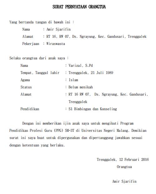 Contoh Surat Pernyataan Izin Orang Tua (Keluarga)