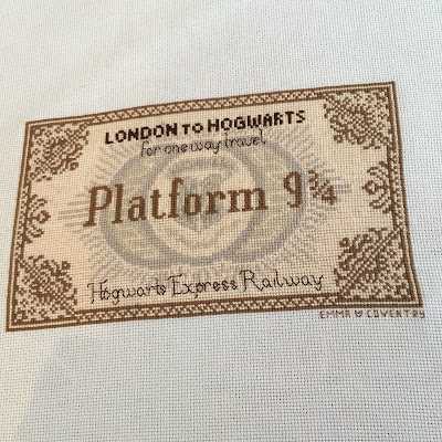 Harry Potter Hogwarts Express Ticket Cross Stitch
