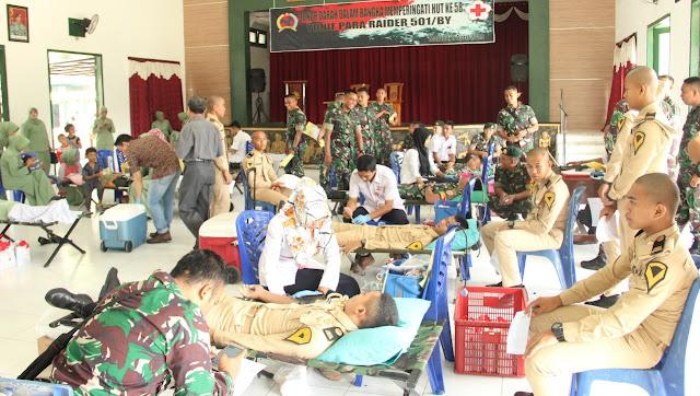 PMI Madiun dan Yonif Para Raider 501 Kostrad Gelar Donor Darah