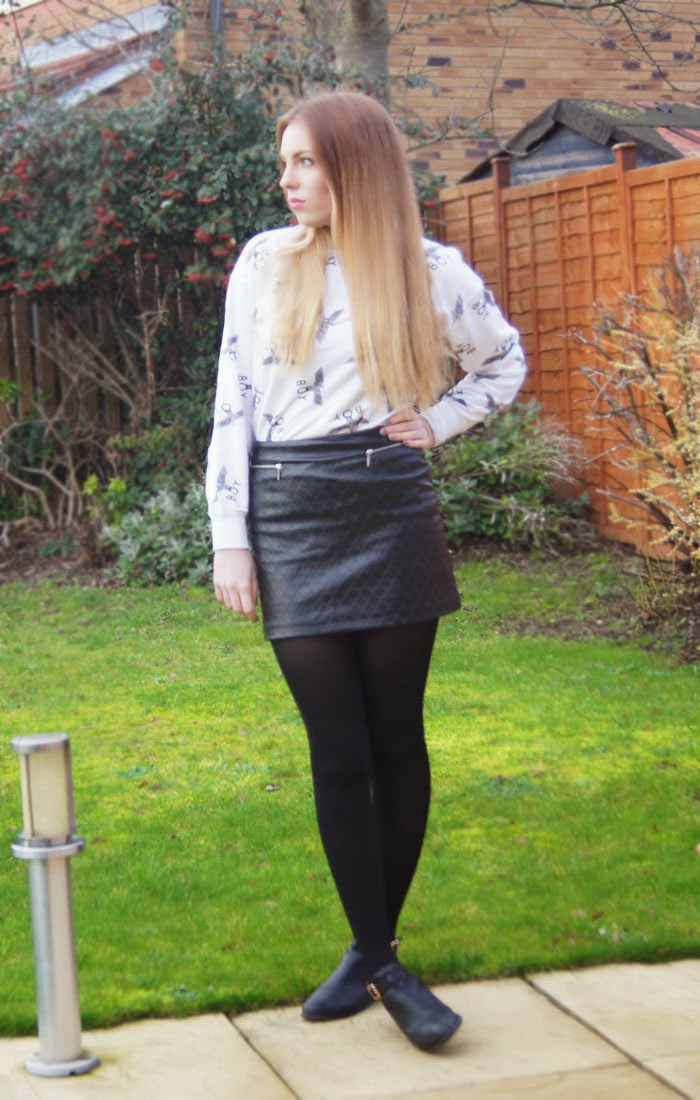boy london jumper and leather skirt