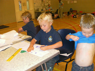 holiday camp activities, drawing and swimming