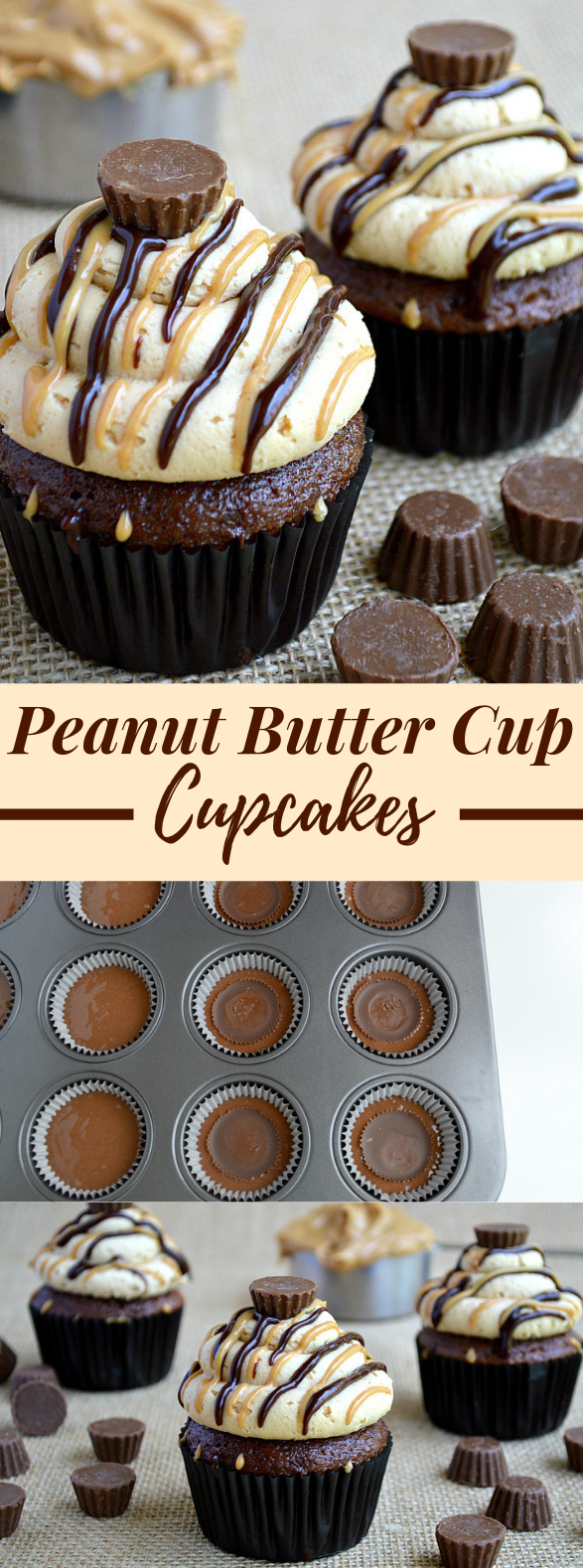 PEANUT BUTTER CUP CUPCAKES #dessert #chocolate