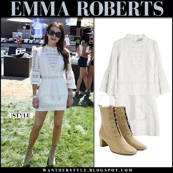 Emma Roberts in white crochet mini dress what she wore coachella april 2017