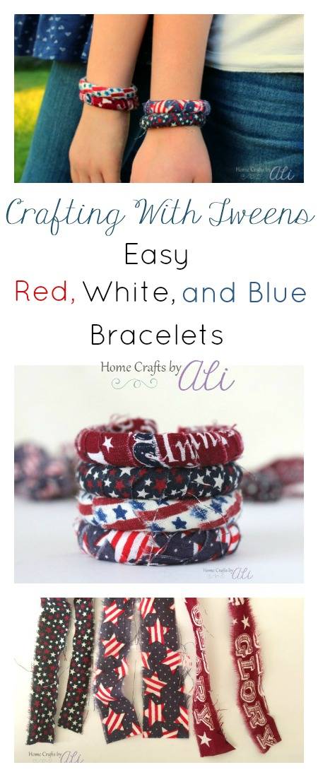 crafting with tweens easy diy red white and blue project fabric wrapped bracelet