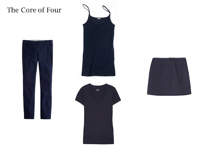 A Core of Four in navy: trousers, tee shirt, tank top and skirt