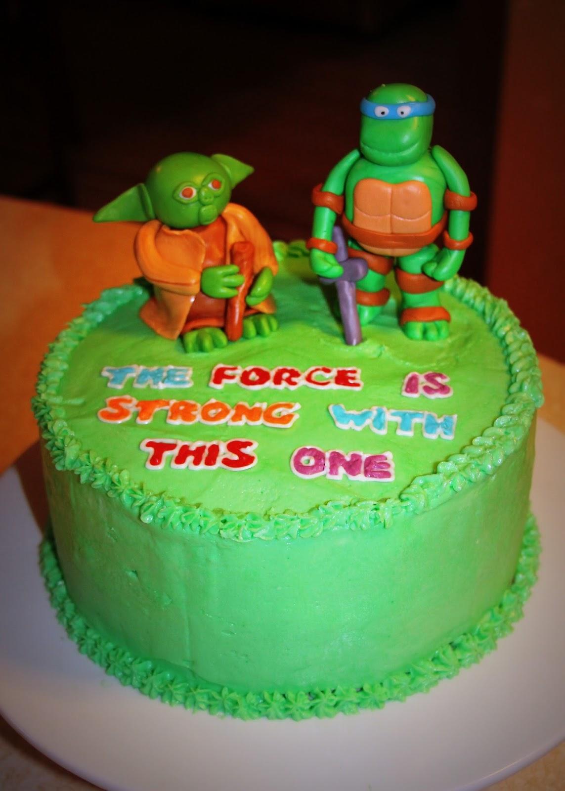 Yoda Vs Leonardo The Ninja Turtle Cake