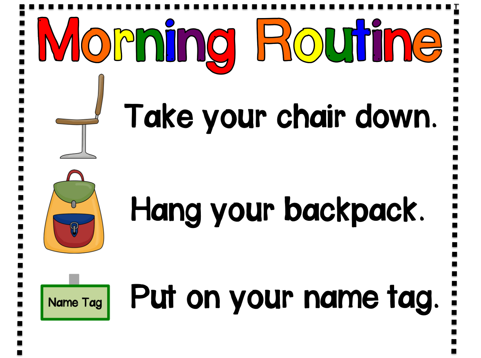 Kindergarten Kids At Play Classroom Morning Routine Poster Freebie And My Word Wall Update