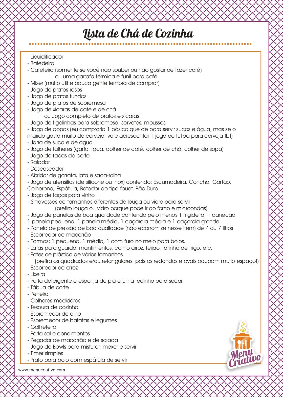 Lista De Ch De Cozinha Simples Para Imprimir Oppenau Info